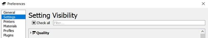 menu configurar visibilidad de los ajustes, mostrar todos