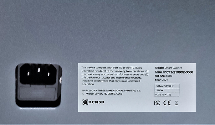 bcn3d smart cabinet serial number
