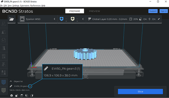 size of the model on BCN3D stratos