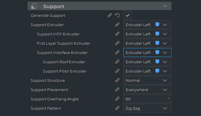 menú de configuración de soporte ampliado