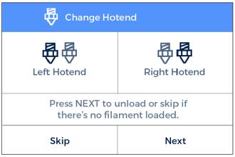 Change hotend screen