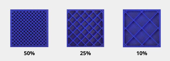 densidad de material en la pieza impresa